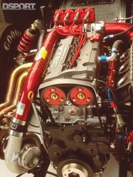 The engine bay of Papadakis' AEM Drag Civic