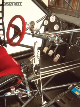 Race interior of Papadakis' AEM Drag Civic