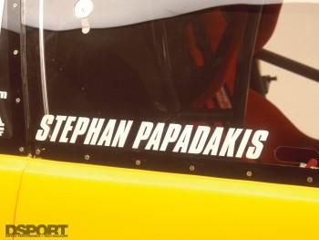 Papadakis' AEM Drag Civic driver nameplate