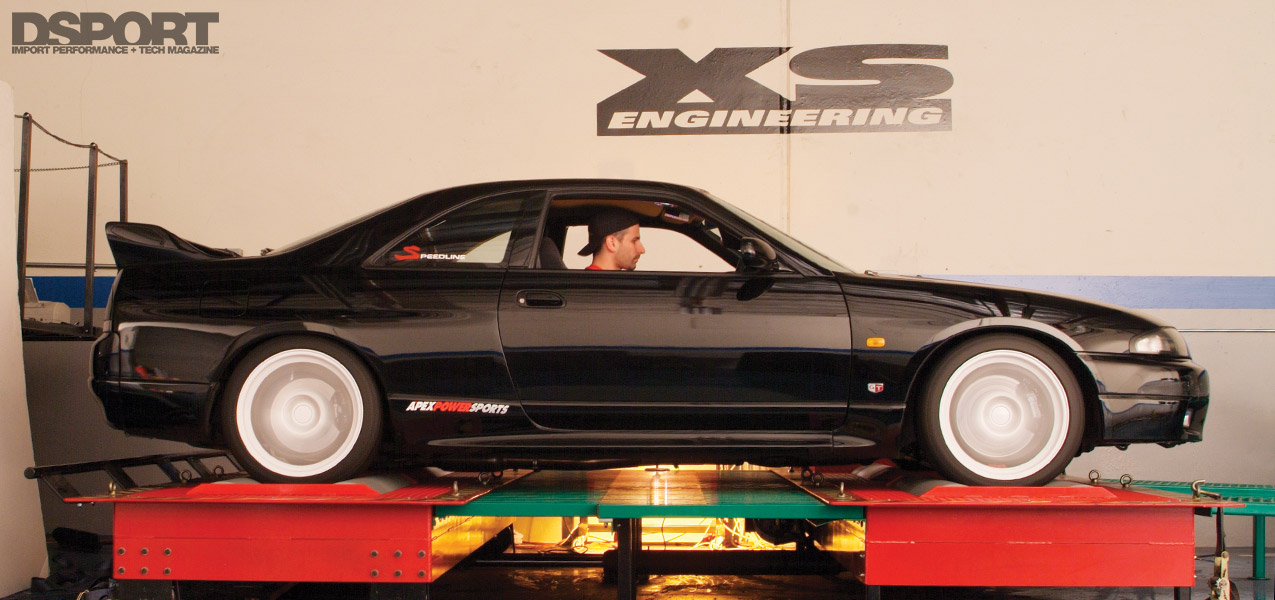 Wide shot of the R33 on the AWD dyno at XS Engineering