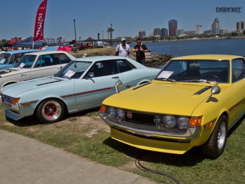 Classic toyotas lined up in Long Beach