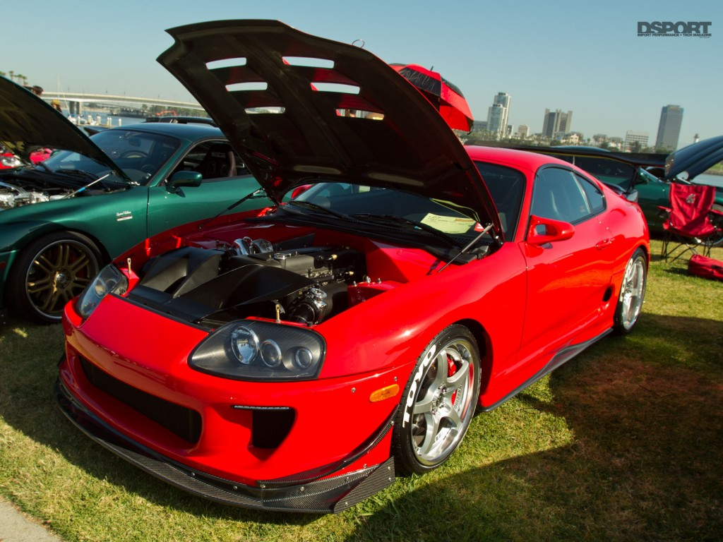 Red supra with bodykit in Long Beach