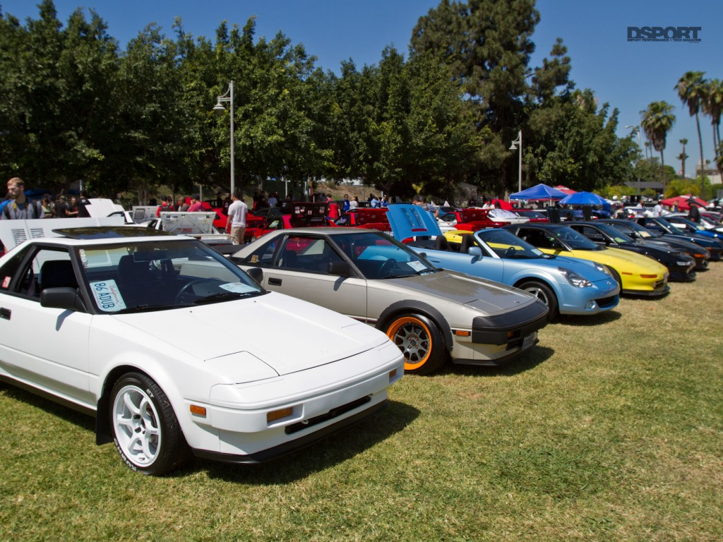 Classic Toyotas lined up at Toyotafest