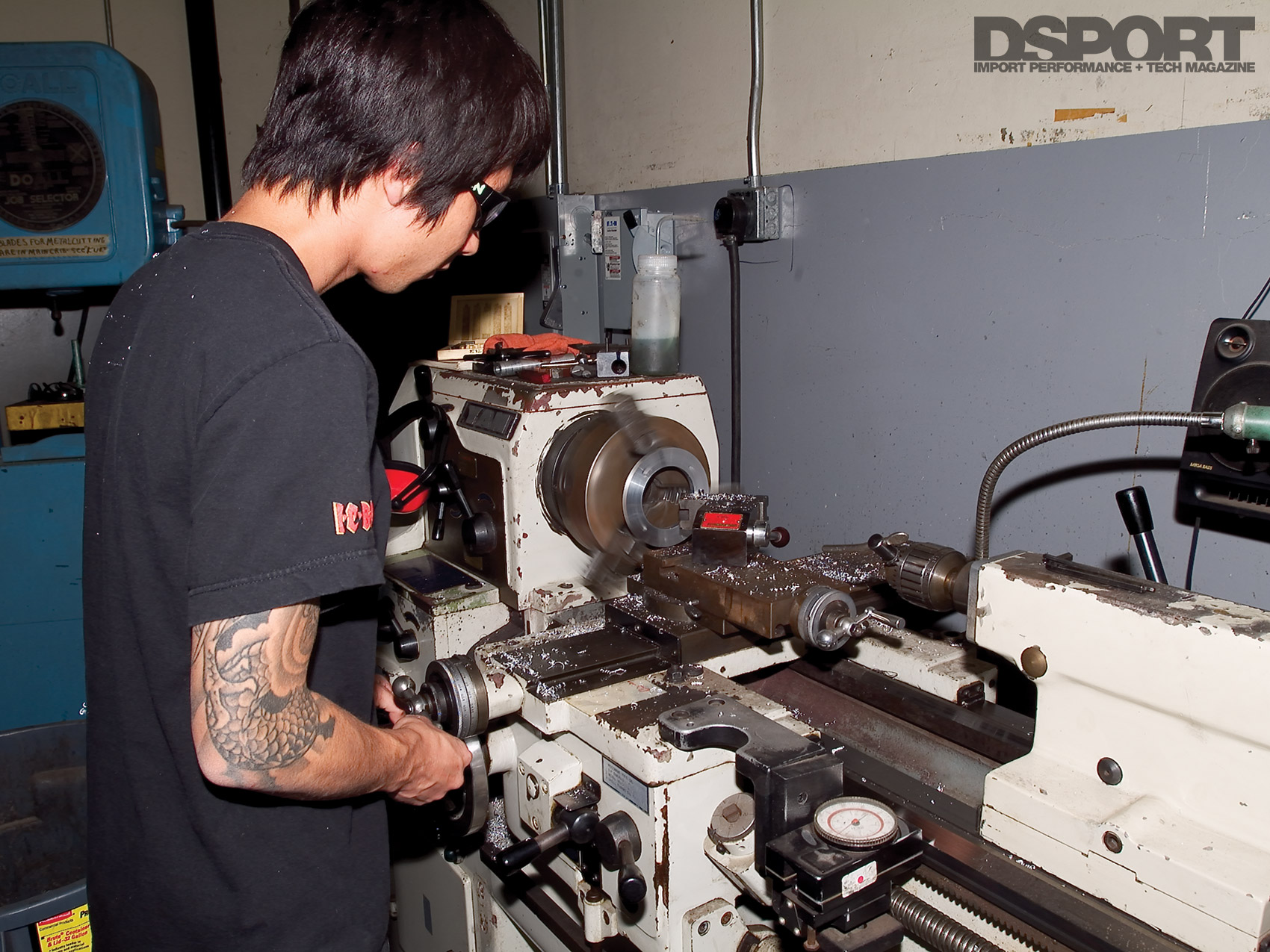 Lanny Higa using the lathe