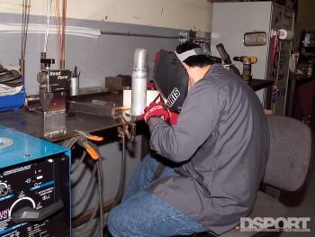 Jensen Oda welding the new intake