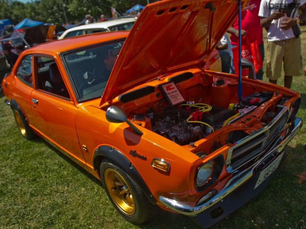 Clean bright orange classic Toyota