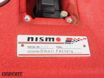 The Nismo engine plate for the Kazama S15 D1 drift car