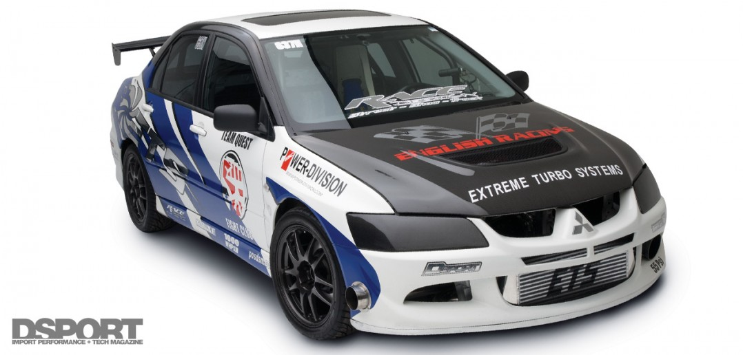 Front lead shot of the English Racing EVO VIII