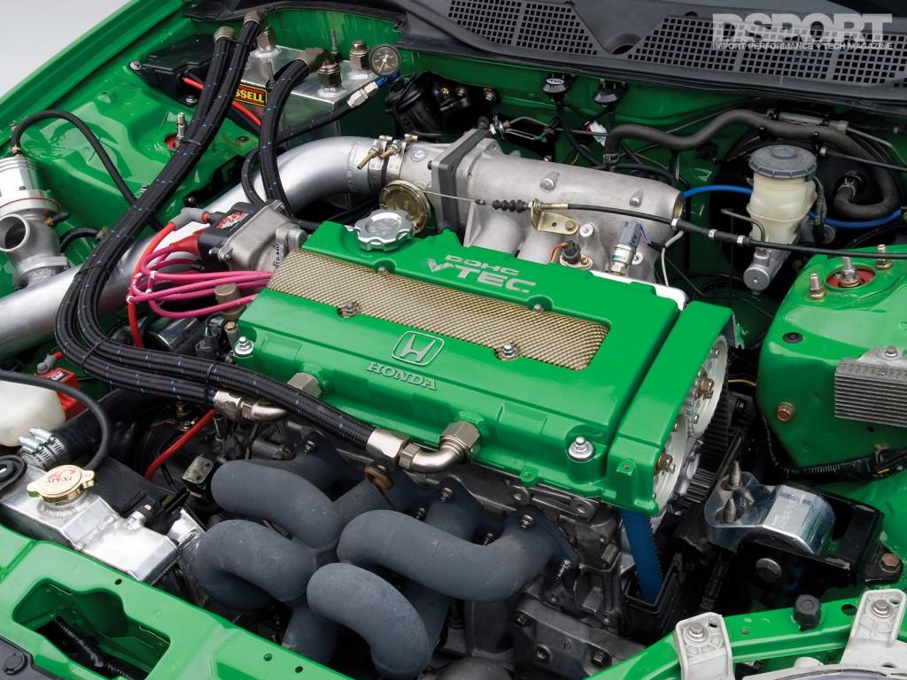 Engine bay of the D'Garage Honda Civic EK