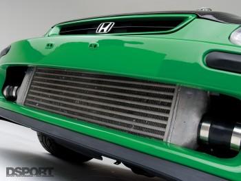 The intercooler mounted on the D'Garage Honda Civic EK