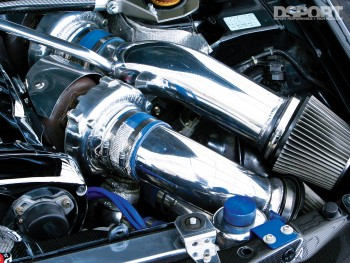 The twin turbo setup on the Top Secret R34 GT-R