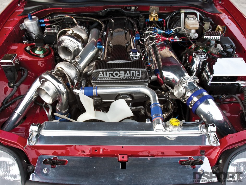 "2JZ engine bay of the ""Big Red"" Toyota Supra"