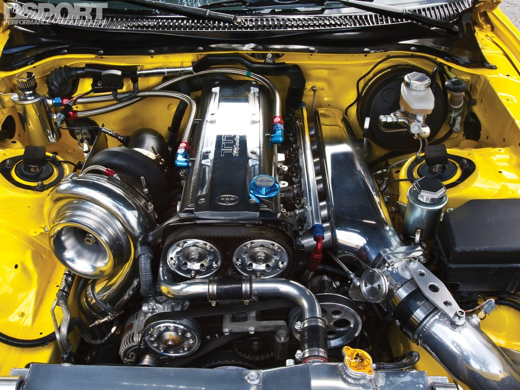 2JZ engine bay of the 1,067 whp Toyota Supra