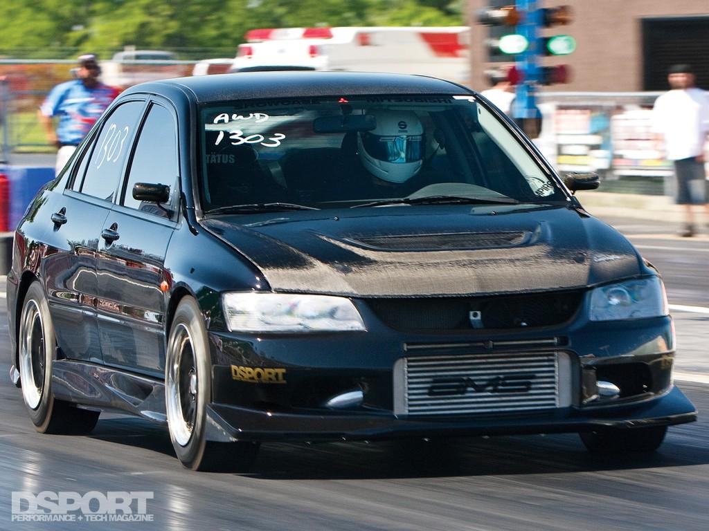 AMS Mitsubishi EVO VIII on the drag strip