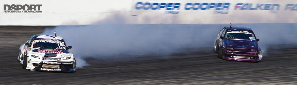 SR-powered AE86 drifting against Mad Mike