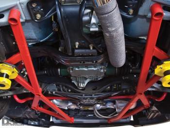 The sub frame brace under the car