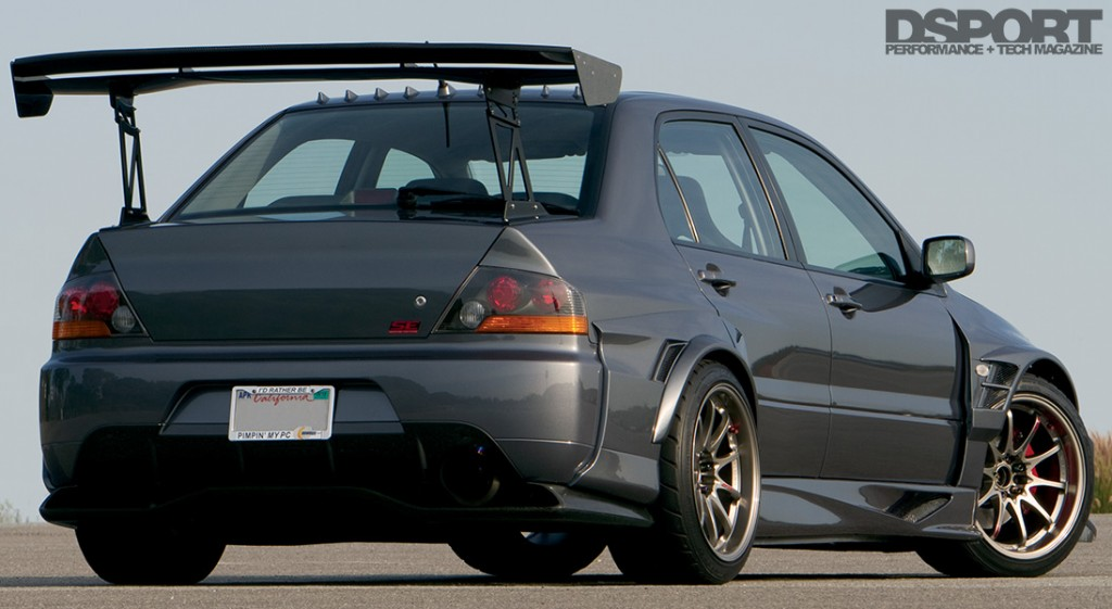 Rear view of the Mitsubishi EVO IX with Voltex Racing Cyber kit