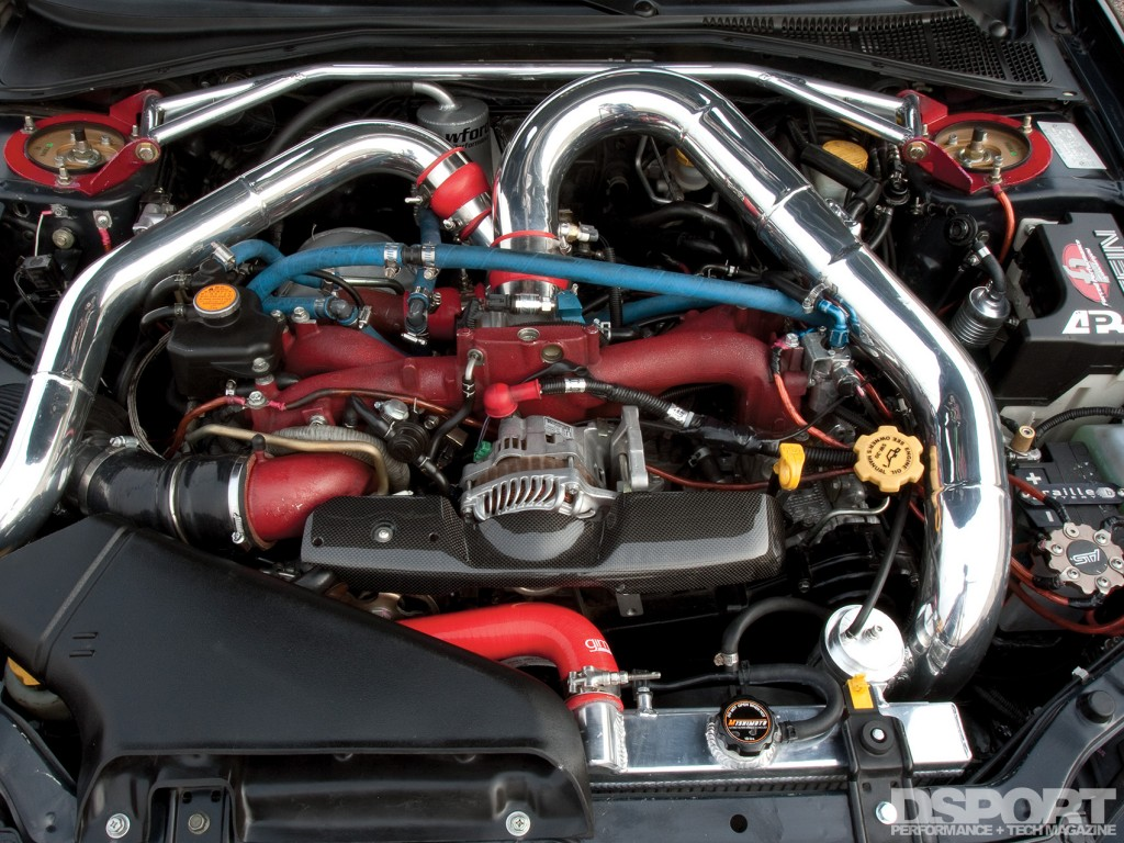 Engine bay of the 457 WHP 10-Second Subaru STI