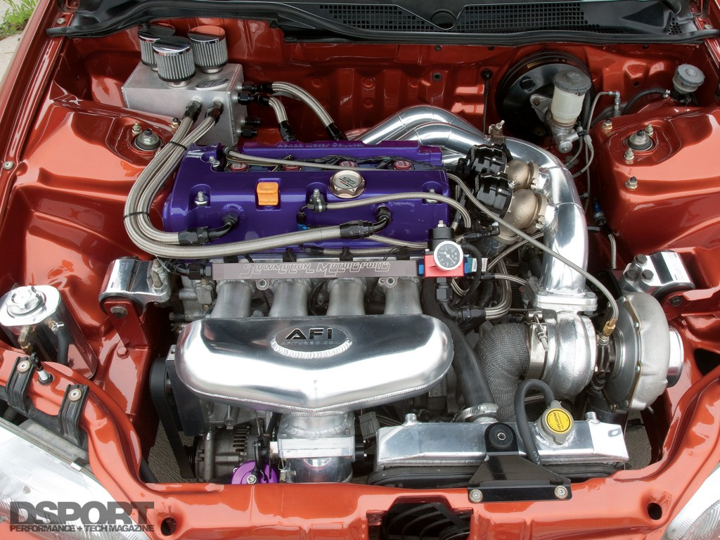 K20 engine in the 786 HP Turbocharged K-series Honda Civic