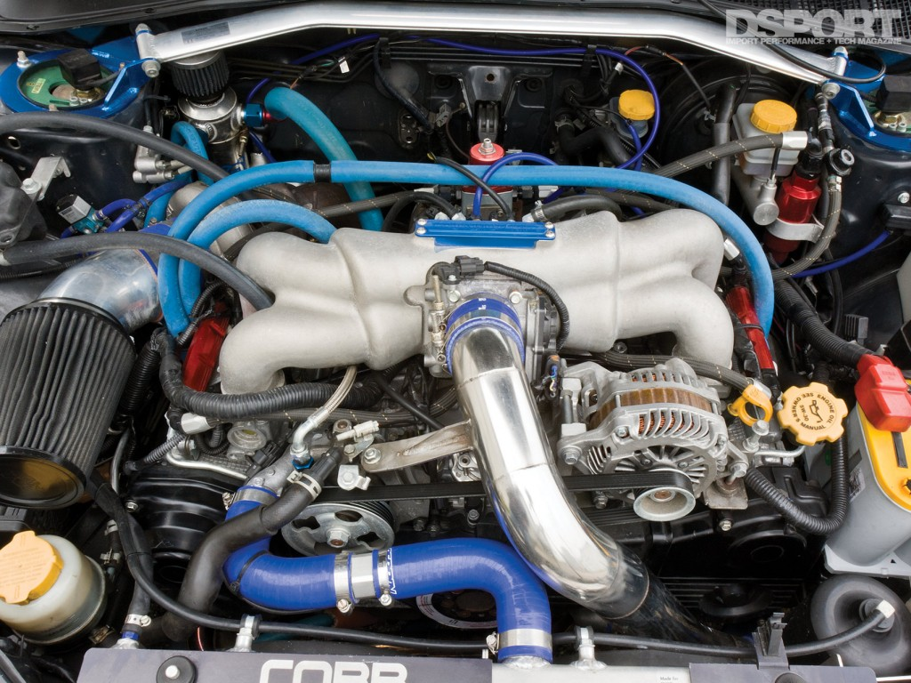 Engine bay of the 642 HP STI