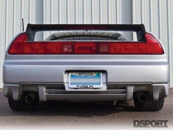 The rear of the turbocharged Acura NSX