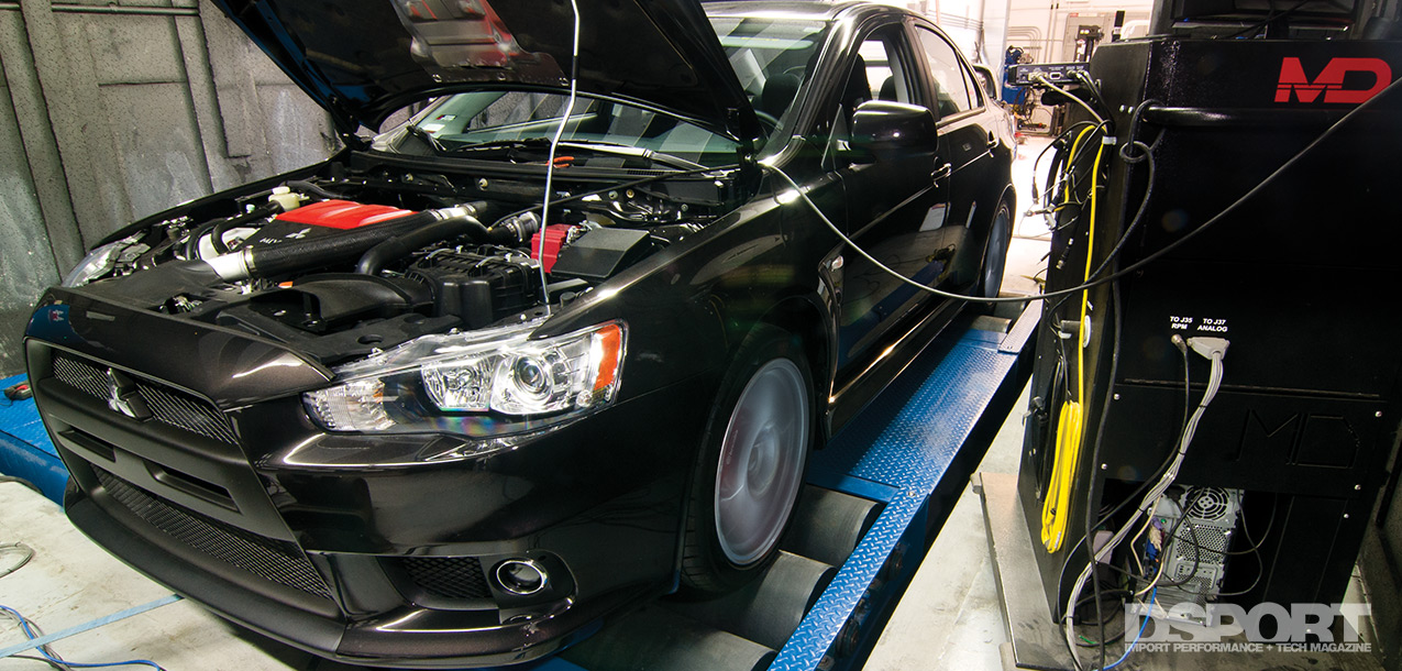 The EVO X on the dyno for part 2 of the test and tune