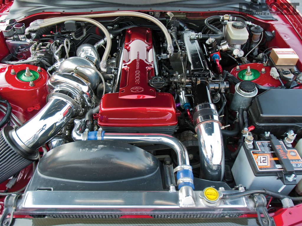 Engine bay of the 850 HP E85 Turbocharged Toyota Supra