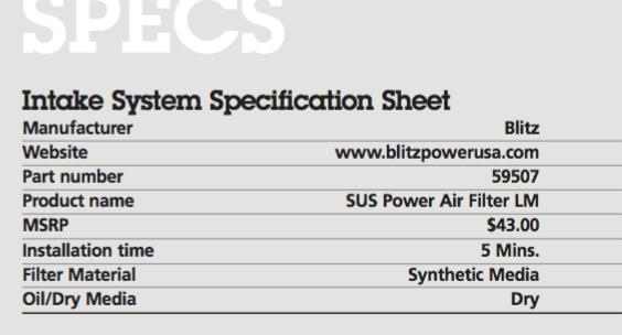 Blitz Panel Intake system for FR-S/BRZ