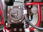 Closeup of the engine bay inside the Subaru Impreza RS