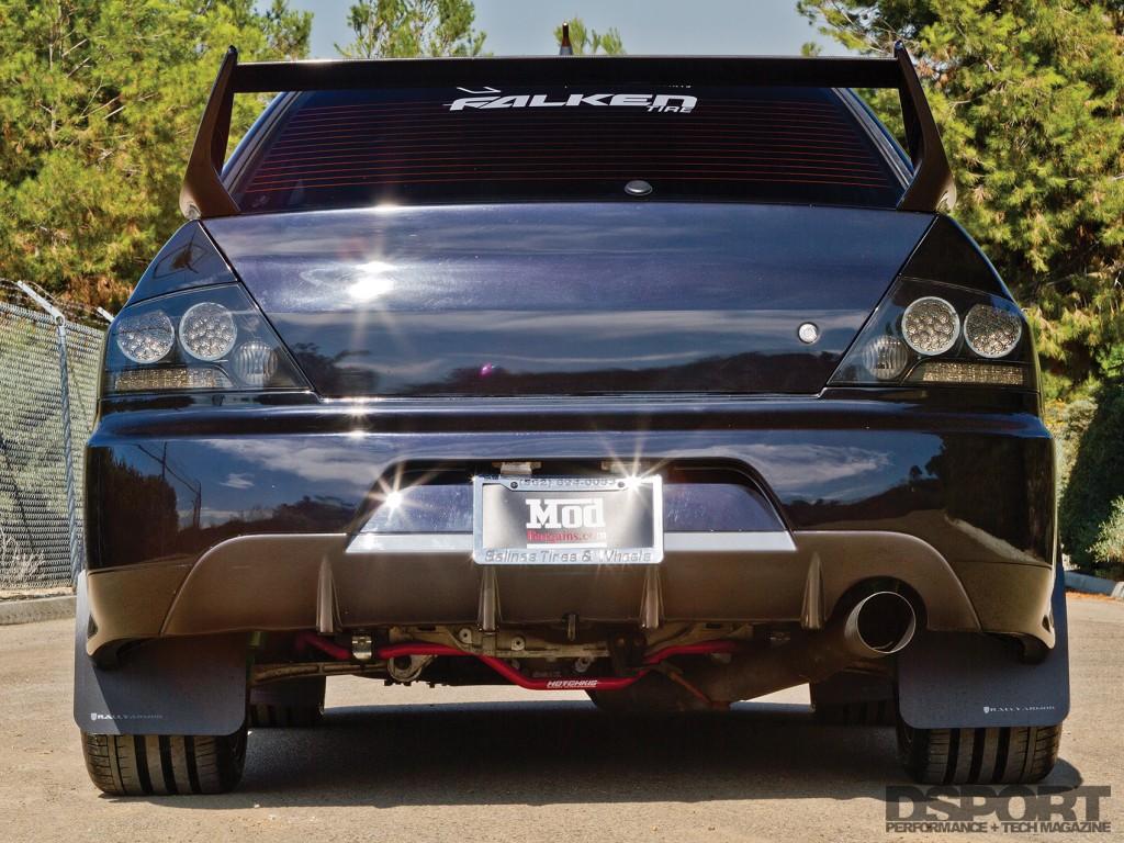 EVO IX dyno test vehicle rear