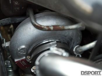 Forced performance red turbo in Bruzewski's Mitsubishi EVO VIII