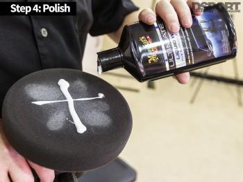 Apply a polish to one's car