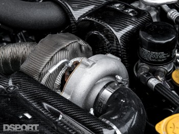 Close up of turbocharger on the Leong FR-S