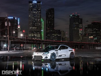 Night shot in the city of the Leong FR-S