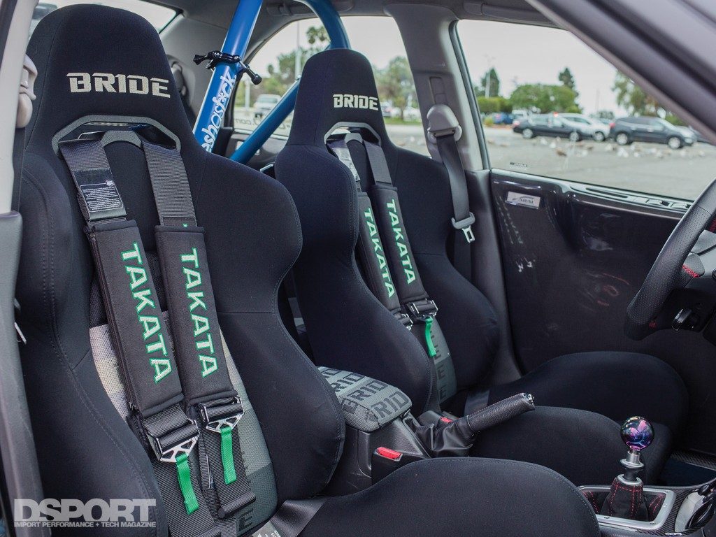 The interior of Tomczek's Subaru STI