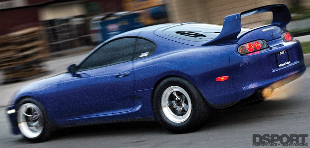 1,307 WHP Street Toyota Supra shooting flames on the road