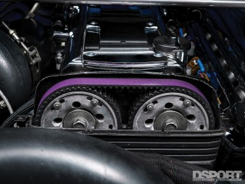 Cam gears on the 1,307 WHP Street Toyota Supra