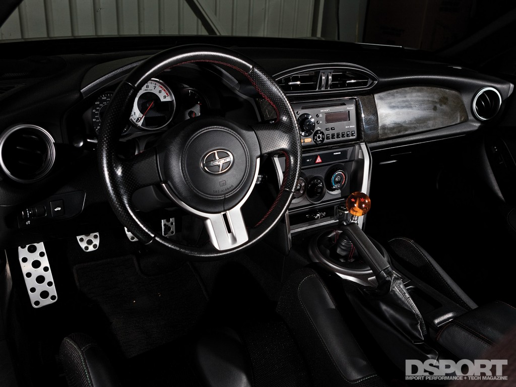 The interior of the FR-S with OEM Audio+ sound system