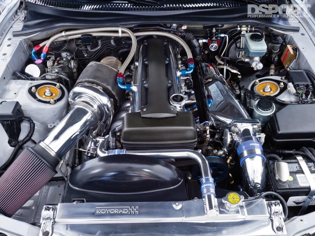 Engine bay of 1,075 WHP Toyota Supra