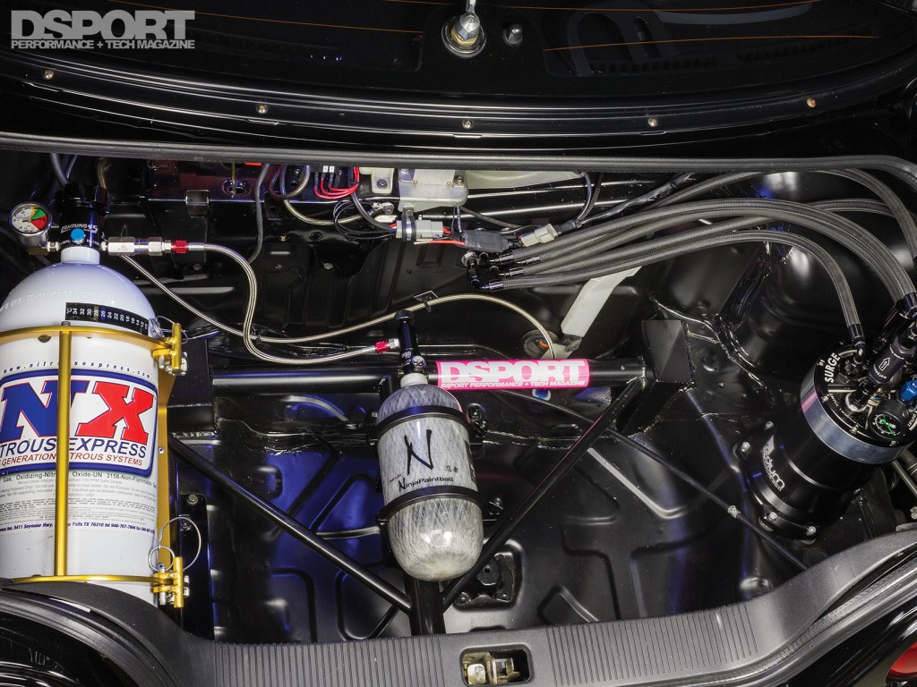 Nitrous Oxide (NOS) in the back of the D'Garage R33