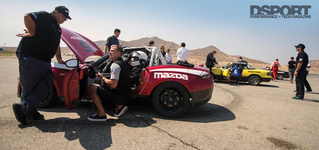 Mazda MX-5 Miata in the pits