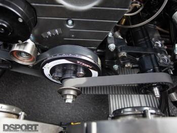 Dry sump kit mounted to subframe