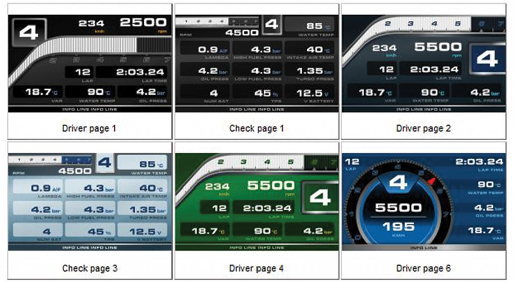 Different screen options for AiM Dash Logger