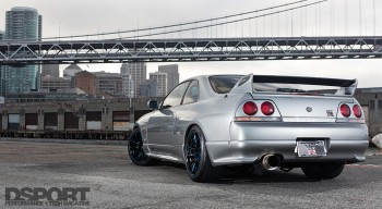 Rear view of the R33 by the bridge