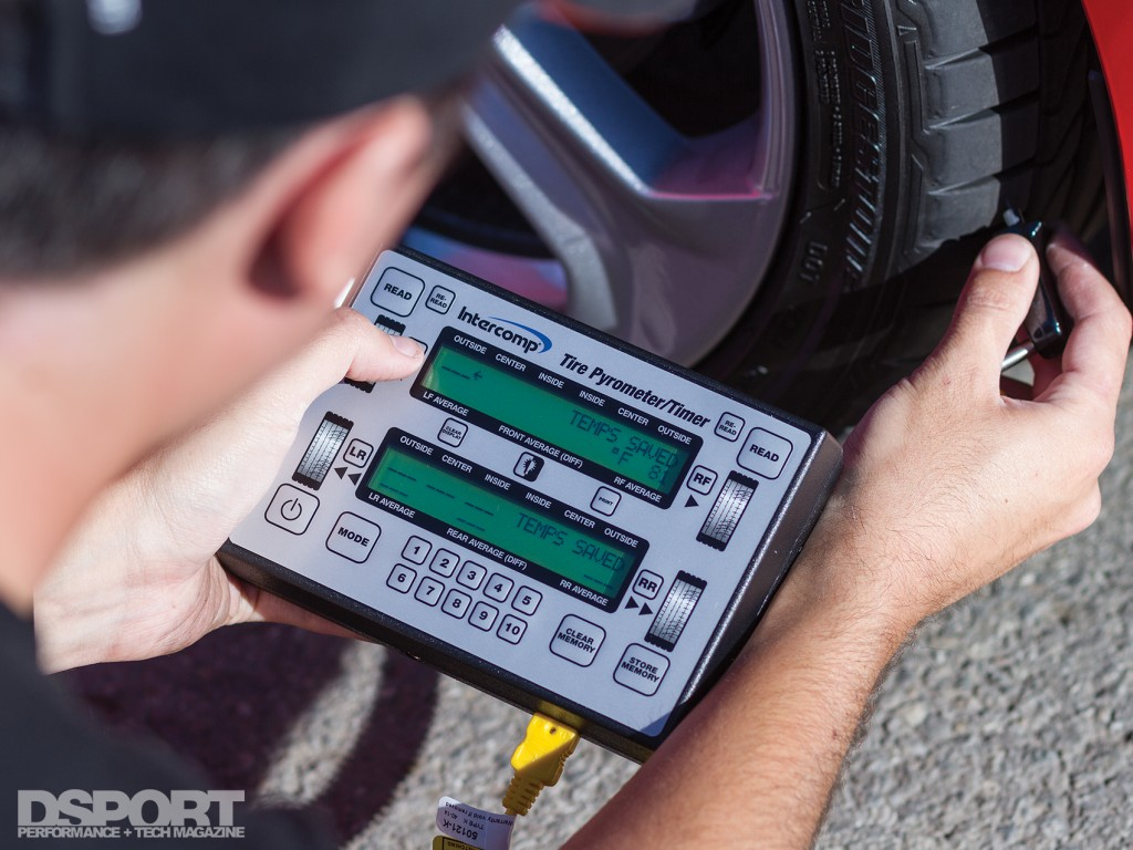 Using a tire pyrometer at the track