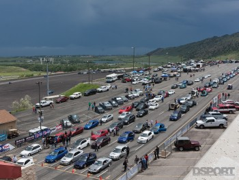 cars lined up in staging lane
