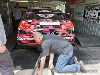 ETS EVO getting strapped in on the buschur racing dyno