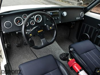Interior of Datsun 510 with a SR20 swap