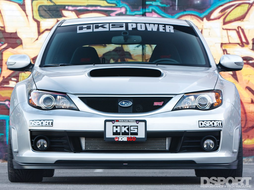 Front of the HKS equipped Subaru STI