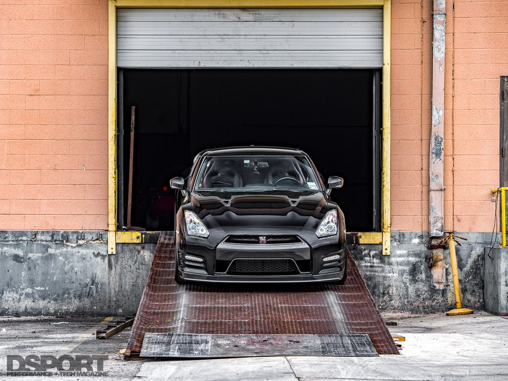 JMS R35 GT-R on the loading dock